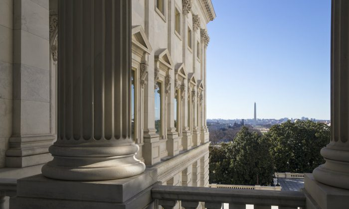 The Washington Monument is seen in the distance from balcony of the House of Representatives on Capitol Hill in Washington, D.C., on Jan. 5, 2016. (AP Photo/J. Scott Applewhite)