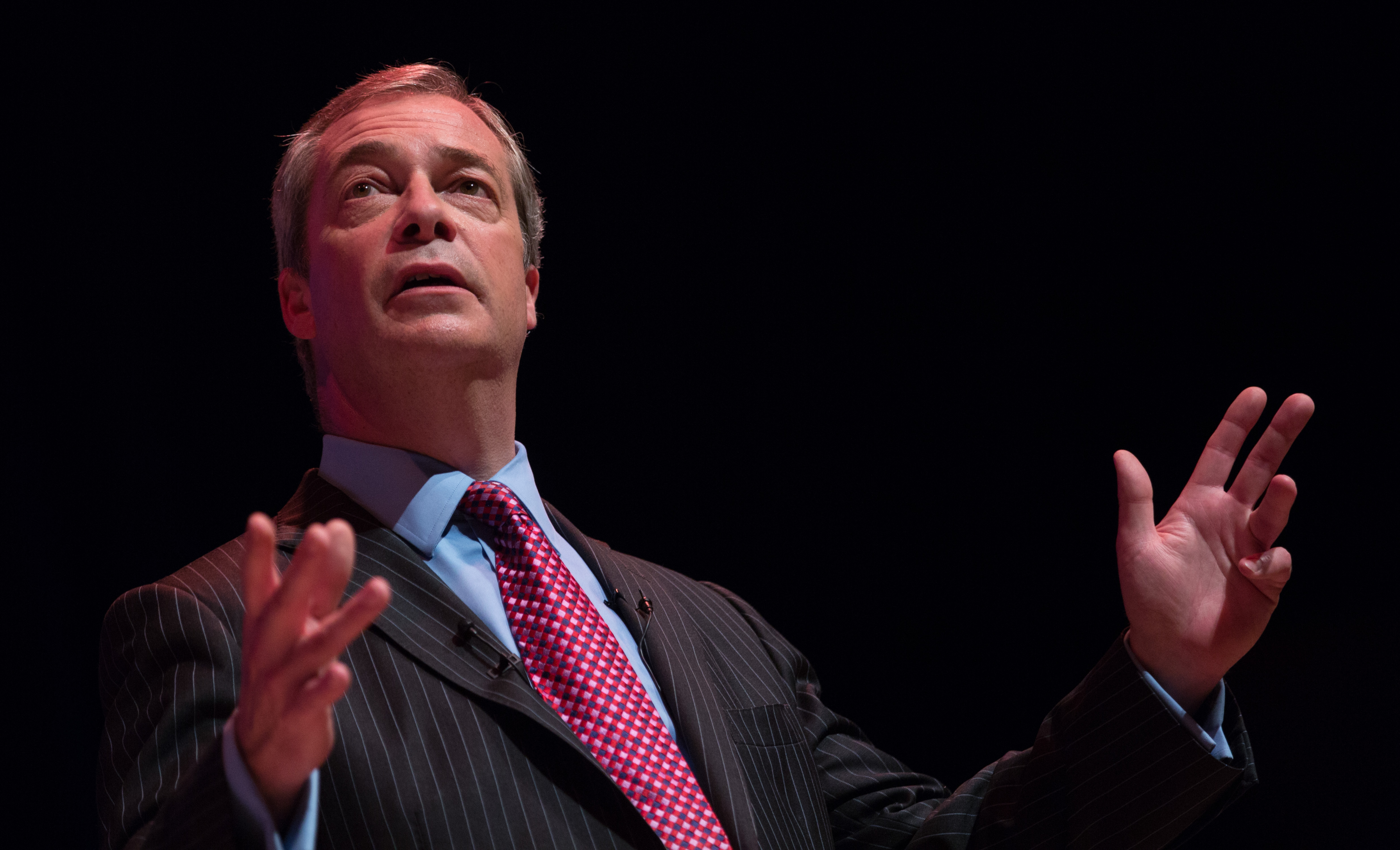 """UKIP leader Nigel Farage addresses supporters at a """"Say No to Europe"""" meeting at the Anvil in Basingstoke, England, on Nov. 16, 2015. The right-wing Euroskeptic supports the British exit from the European Union. (Matt Cardy/Getty Images)"""