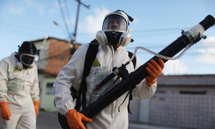 Health workers fumigate in an attempt to eradicate the mosquito which transmits the Zika virus in Recife, Pernambuco State, Brazil, on Jan. 28, 2016. (Mario Tama/Getty Images)