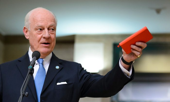 U.N. envoy for Syria Staffan de Mistura after a session of Syrian peace talks with the Syrian government delegation at the U.N. Offices in Geneva on Jan. 29, 2016. (Fabrice Coffrini/AFP/Getty Images)