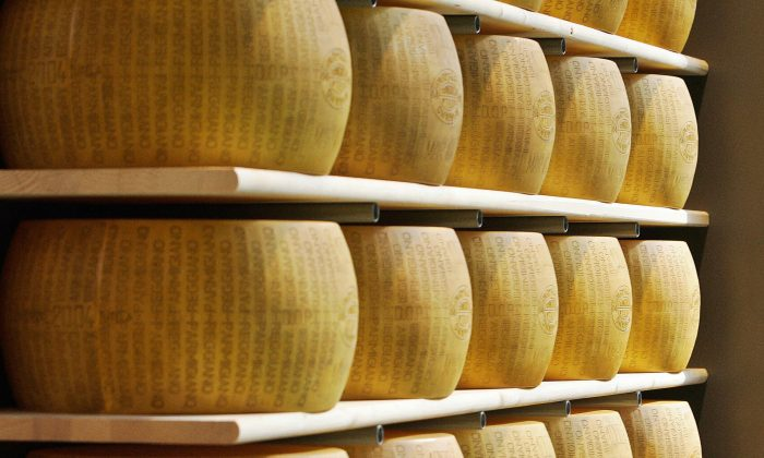 Parmigiano Reggiano (Parmesan) at the Salone del Gusto, 26 October 2006 in Turin, Italy. (FILIPPO MONTEFORTE/AFP/Getty Images)