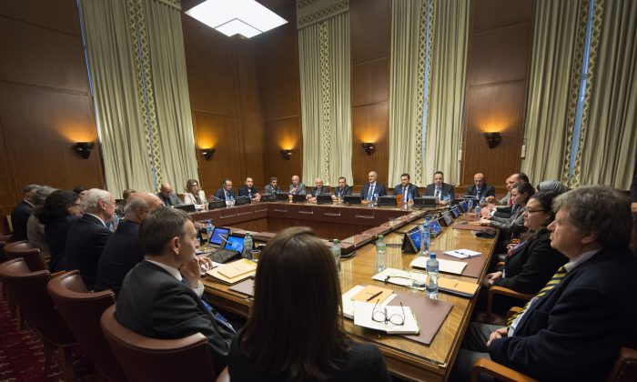 Overview of the Syria peace talks in Geneva, Switzerland, on Jan. 29, 2016. Indirect peace talks aimed at resolving Syria's 5-year conflict began Friday at the U.N. headquarters in Geneva, without the participation of the main opposition group. (Martial Trezzini/Keystone via AP)