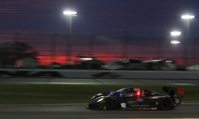 Jordan Taylor in the #10 WTR Dallara-Corvette is part of a three-way fight for the race lead. (Chris Jasurek/Epoch Times)