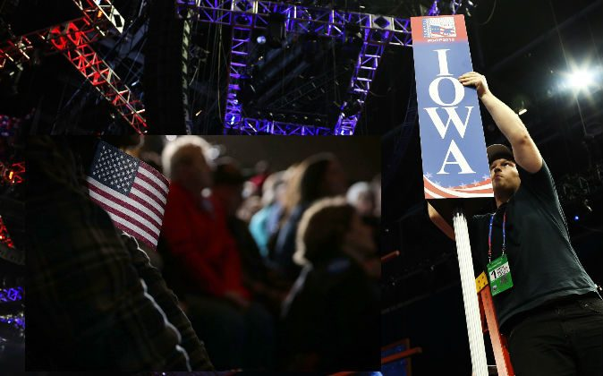 Left: Voters listen to Democratic presidential candidate Sen. Bernie Sanders (I-Vt.) during a campaign rally in Dubuque, Iowa, Jan. 29, 2016. (Alex Wong/Getty Images) Right: A file photo of a worker adjusting the sign for Iowa ahead of a 2012 Republican National Convention. (Spencer Platt/Getty Images)