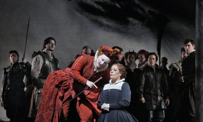 Elza van den Heever as Elisabetta and Sondra Radvanovsky as Maria Stuarda, in an opera about the strife between the cousins. (Ken Howard/Metropolitan Opera)