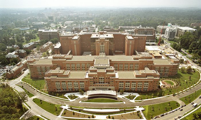Aerial photograph from the north of the Mark O. Hatfield Clinical Research Center on the National Institutes of Health in Bethesda, Md., in 2008. (NIH, Public Domain)