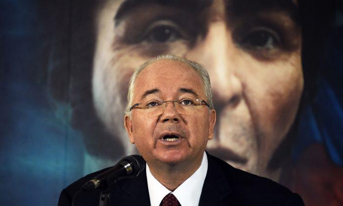 Rafael Ramirez, Venezuelan ambassador to the U.N., at a press conference in Caracas on Oct. 10, 2014. (Juan Barreto/AFP/Getty Images)