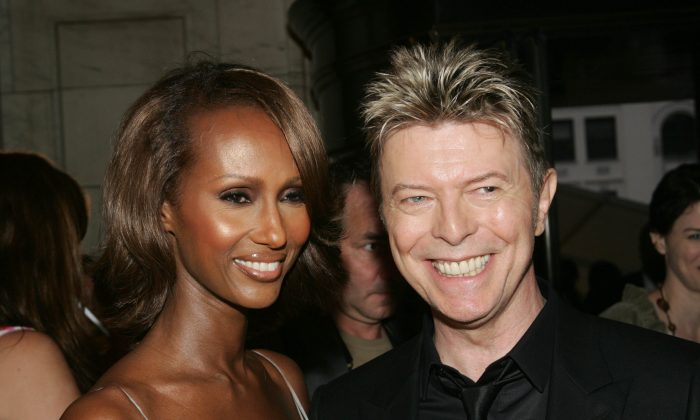 Model Iman and her husband David Bowie attend the 2005 CFDA Awards at the New York Public Library June 6, 2005 in New York City. (Evan Agostini/Getty Images)
