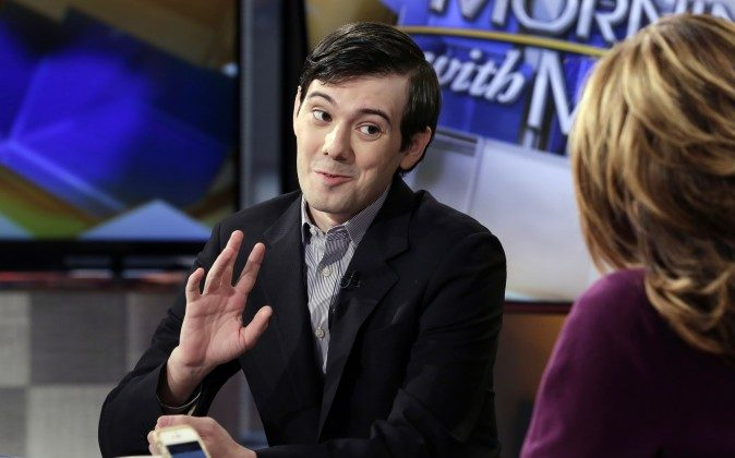 """Former Turing Pharmaceuticals CEO Martin Shkreli is interviewed by host Maria Bartiromo during her """"Mornings with Maria Bartiromo"""" program on the Fox Business Network, in New York, on Feb. 2, 2016. (AP Photo/Richard Drew)"""