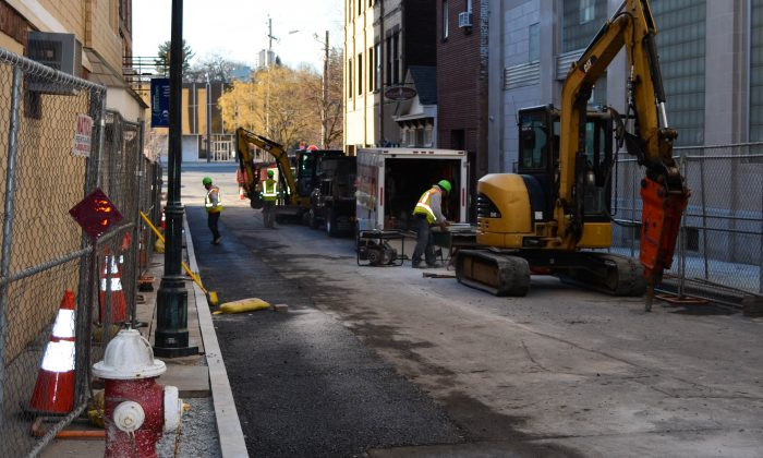 King Street Walkway project in Middletown on Feb. 2, 2016. (Yvonne Marcotte/Epoch Times)