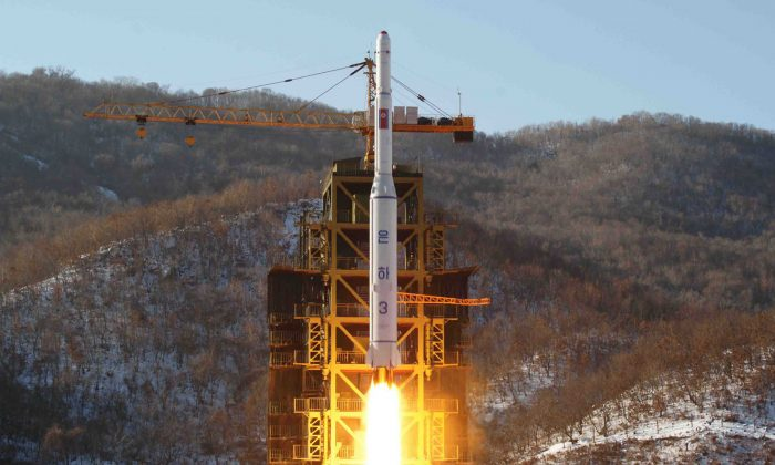 North Korean rocket Unha-3, carrying the satellite Kwangmyongsong-3, lifts off from the launching pad in Cholsan County, North Pyongan Province, North Korea, on Dec. 12, 2012. (KNS/AFP/Getty Images)