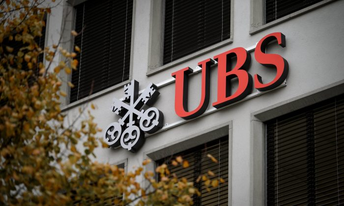 A logo of Swiss bank UBS on a building in Zurich on Nov. 14, 2013. (Fabrice Coffrini/AFP/Getty Images)