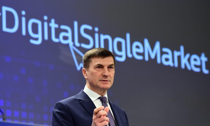 Andrus Ansip, European Commissioner for Digital Single Market, holds a press conference at the European Commission in Brussels on March 25, 2015. (Emmanuel Dunand/AFP/Getty Images)