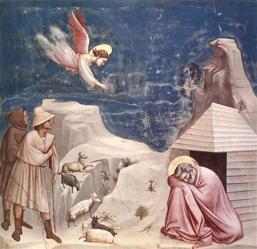 The Dream of Joachim by Giotto, completed in 1305. (Public Domain)