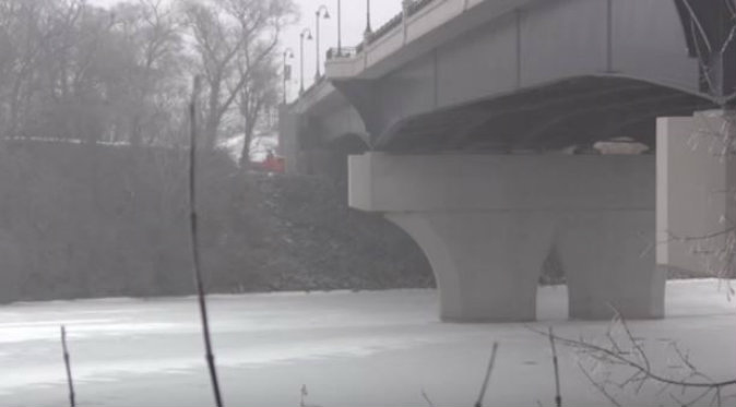 A screenshot of the bridge where the body of 21-year-old Hannah Pauline Udvig was found. (YouTube)