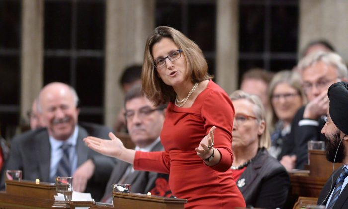 International Trade Minister Chrystia Freeland answers a question in the House of Commons on Dec. 7, 2015. The federal government has confirmed that it intends to sign the controversial Trans-Pacific Partnership trade deal this week in New Zealand—but that doesn't necessarily mean Canada will ultimately ratify it, Freeland said Feb. 1, 2016. (THE CANADIAN PRESS/Sean Kilpatrick)