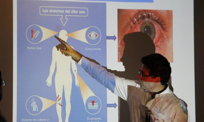 Colombia's Health Minister Alejandro Gaviria explains the symptoms of Zika during an event to launch a nationwide prevention campaign against the virus in Ibague, Colombia, on Jan. 26, 2016. Gaviria said the mosquito-borne Zika virus has already infected more than 16,000 people in Colombia and could hit more than half a million throughout the country. (AP Photo/Fernando Vergara)