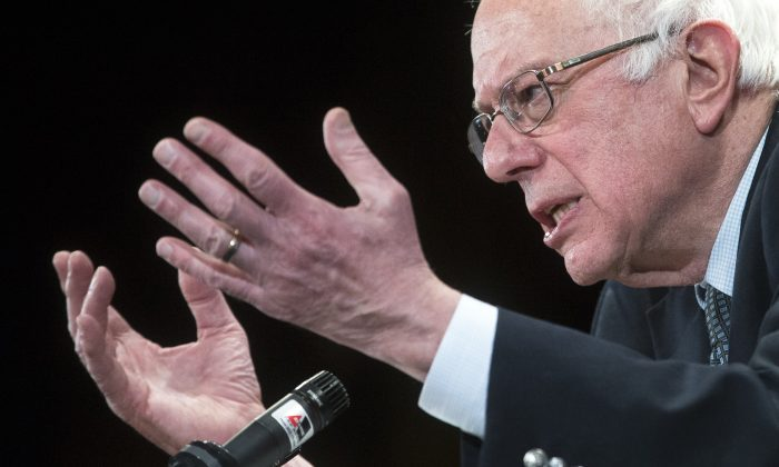 Democratic presidential candidate Sen. Bernie Sanders, I-Vt., speaks during a campaign stop at the Claremont Opera House, Tuesday, Feb. 2, 2016, in Claremont, N.H. (AP Photo/John Minchillo)