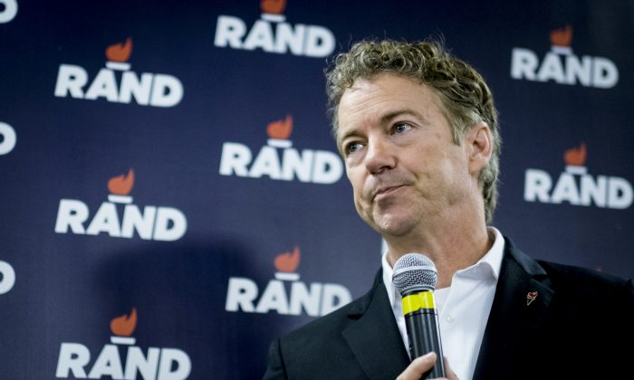 Sen. Rand Paul (R-Ky.) speaks during a caucus day rally at his Des Moines headquarters, Iowa, on Feb. 1, 2016. (Pete Marovich/Getty Images)