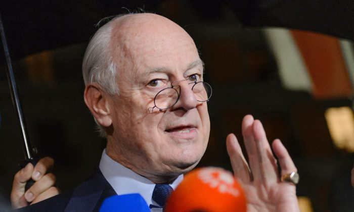 Staffan de Mistura, U.N. envoy for Syria, at a press briefing at the Syrian peace talks in Geneva on Feb. 3, 2016. The UN special envoy for Syria announced on Wednesday a 'temporary pause' until Feb. 25 of troubled talks in Switzerland aimed at ending the civil war. (Fabrice Coffrini/AFP/Getty Images)