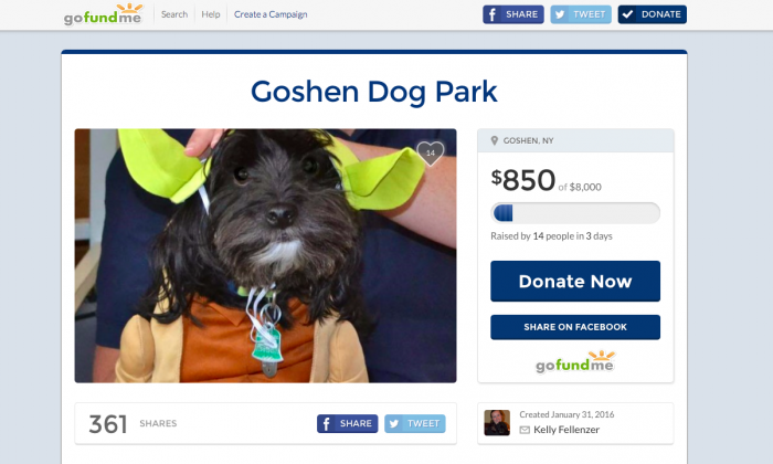 A screenshot on Feb. 3, 2016 of the GoFundMe page where Goshen high school student Kelly Fellenzer is raising money for a dog park in Goshen. (Screenshot GoFundMe)