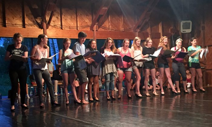 This June 2015 photo provided by Perry-Mansfield shows a musical theatre rehearsal with high school Pre-Professional Intensive students in Steamboat Springs, Colo.  (Perry-Mansfield via AP)