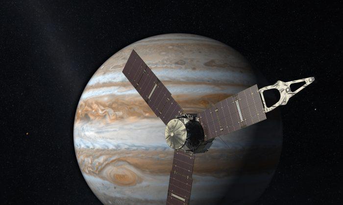 Juno in front of Jupiter. (NASA/JPL-Caltech)