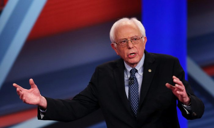 Democratic Presidential candidates Sen. Bernie Sanders (I-VT) speaks during a CNN and the New Hampshire Democratic Party hosted Democratic Presidential Town Hall at the Derry Opera House on February 3, 2016 in Derry, New Hampshire. (Joe Raedle/Getty Images)