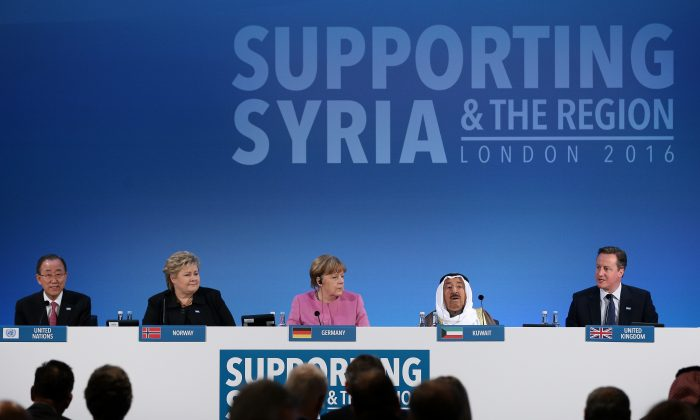 "(L-R) U.N. Secretary-General Ban Ki-moon, Norwegian Prime Minister Erna Solberg, German Chancellor Angela Merkel, the Emir of Kuwait, Sheikh Sabah al-Ahmad al-Sabah, and British Prime Minister David Cameron attend the ""Supporting Syria Conference"" at The Queen Elizabeth II Conference Centre in London, England, on Feb. 4, 2016. (Dan Kitwood/Getty Images)"