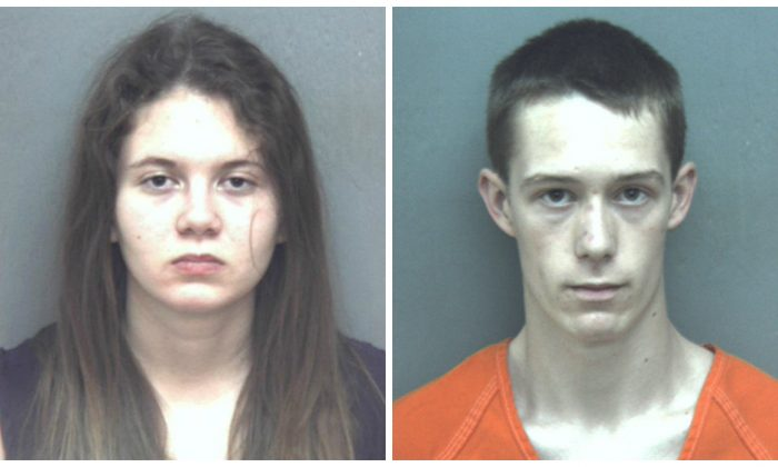Virginia Tech students Natalie Keepers and David Eisenhauer in booking photos. (Blacksburg Police Department via AP)