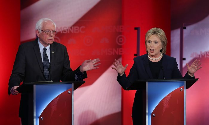 Democratic presidential candidates former Secretary of State Hillary Clinton and U.S. Sen. Bernie Sanders (I-VT) during their MSNBC Democratic Candidates Debate at the University of New Hampshire on February 4, 2016 in Durham, New Hampshire. (Justin Sullivan/Getty Images)