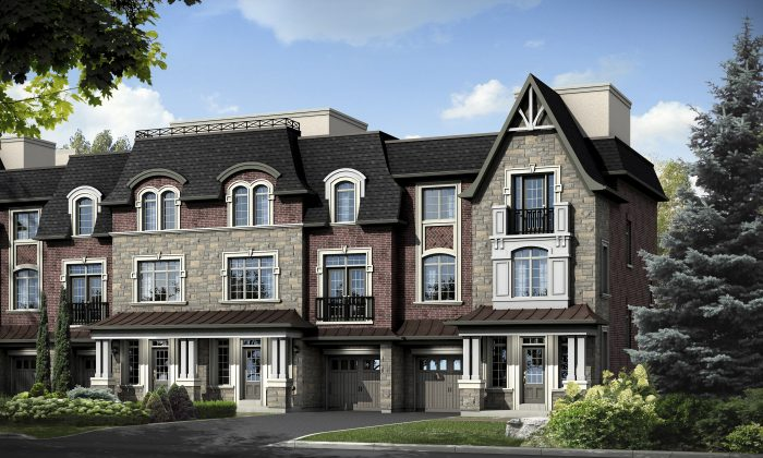Rendering of Residences of Pebble Creek, luxury townhomes in Vaughan  by Falconcrest Homes and Graywood Developments. (Courtesy of Intercity Realty Inc.)