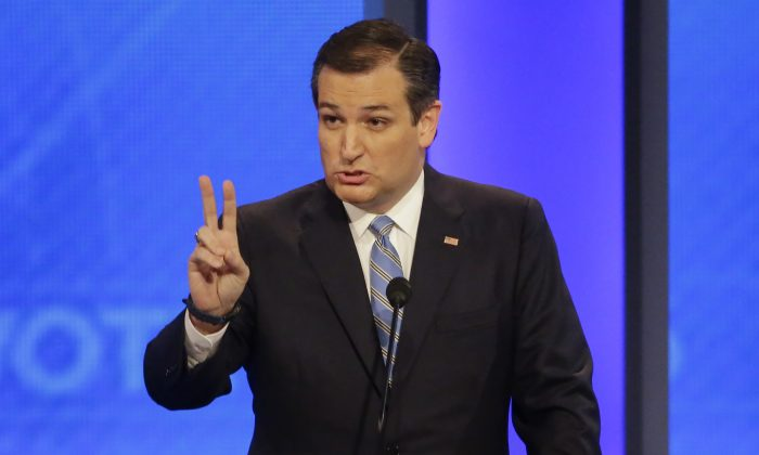 Republican presidential candidate Sen. Ted Cruz (R-Texas) at a Republican presidential primary debate hosted by ABC News at the St. Anselm College in Manchester, N.H., on Feb. 6, 2016. (AP Photo/David Goldman)