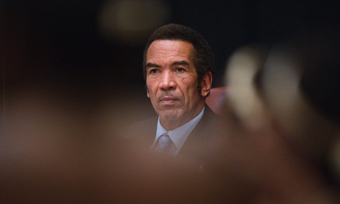 Botswana's President Ian Khama at the opening day of an emergency elephant summit by the International Union for Conservation of Nature in Gaborone, Botswana, on Dec. 3, 2013. (Monirul Bhuiyan/AFP/Getty Images)