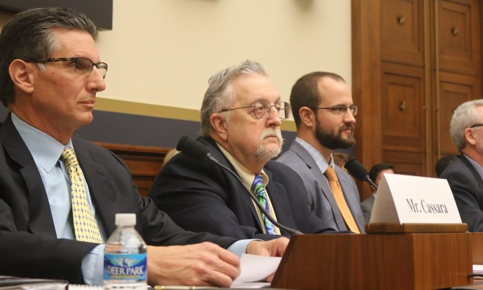 (L–R) John Cassara, former U.S. intelligence officer and Treasury special agent; Louis Bock, former senior special agent, U.S. Customs and Border Protection; Farley Mesko, co-founder and chief executive officer, Sayari Analytics; and Dr. Nikos Passas, professor of criminology and criminal justice, Northeastern University, testify, Feb. 3, before the Task Force to Investigate Terrorism Financing. (Gary Feuerberg/Epoch Times)
