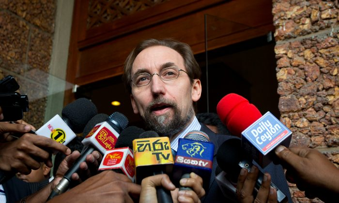 U.N.High Commissioner for Human Rights Zeid Raad al-Hussein speaks to media as he leaves a hotel in Colombo, Sri Lanka, on Feb. 6, 2016. The top U.N. human rights official arrived Saturday in Sri Lanka on a four-day visit aimed at reviewing the measures taken by the island-nation to investigate alleged atrocities committed during the long civil war that left tens of thousands dead.(AP Photo/Eranga Jayawardena)