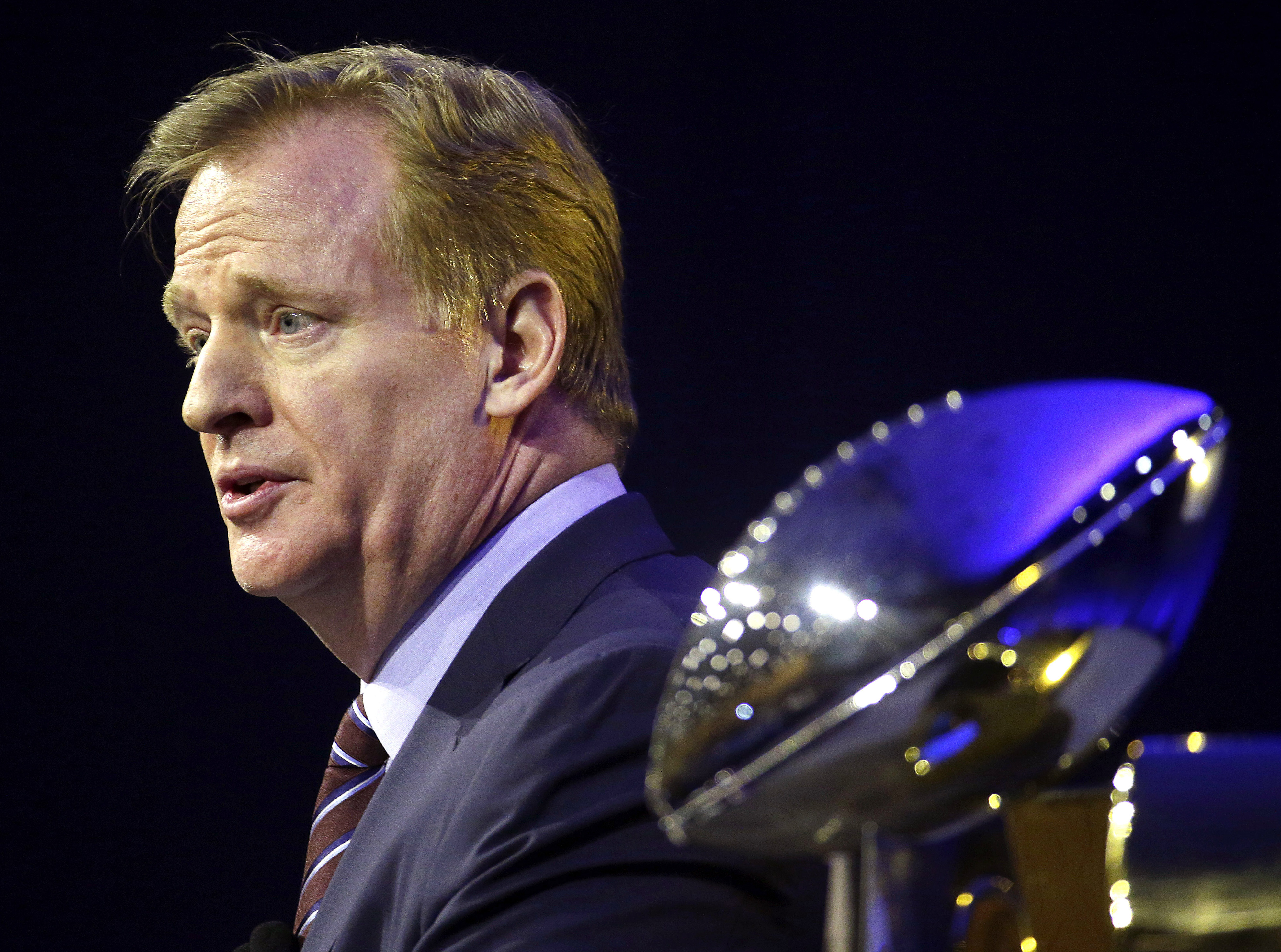 NFL Commissioner Roger Goodell at a news conference in San Francisco on Feb. 5, 2016. (AP Photo/Charlie Riedel)