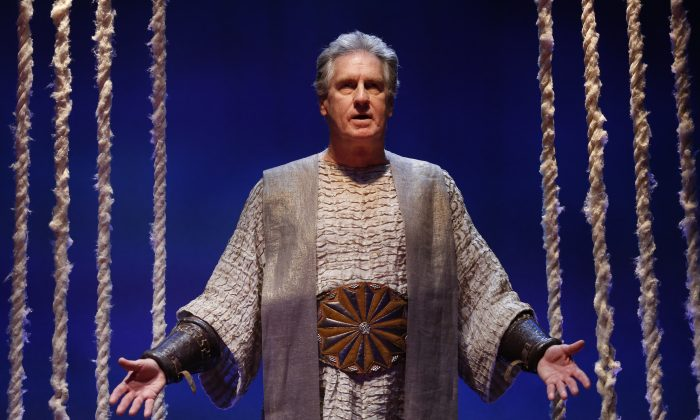 "Is Creon a despot or honorable leader? Paul O'Brien plays the king in Seamus Heaney ""The Burial at Thebes,"" based on Sophocles' s ""Antigone."" (Carol Rosegg)"