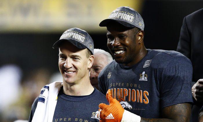 Peyton Manning and Von Miller celebrate after Super Bowl 50 at Levi's Stadium on Feb. 7, 2016 in Santa Clara, California. (Al Bello/Getty Images)