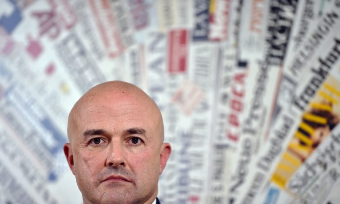 """Italian investigative journalist and writer Gianluigi Nuzzi at a press conference at the Foreign Press Club (Stampa Estera) in Rome on Nov. 24, 2015. His book """"Merchants in the Temple"""" has rocked the Vatican. (Gabriel Bouys/AFP/Getty Images)"""