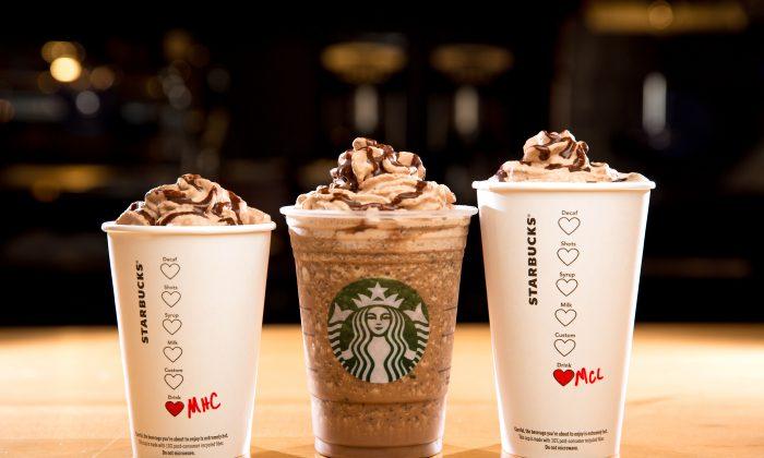 (L-R) The Molten Hot Chocolate, Molten Chocolate Frappuccino Blended Beverage, and Molten Chocolate Latte are shown. (Joshua Trujillo/Starbucks)