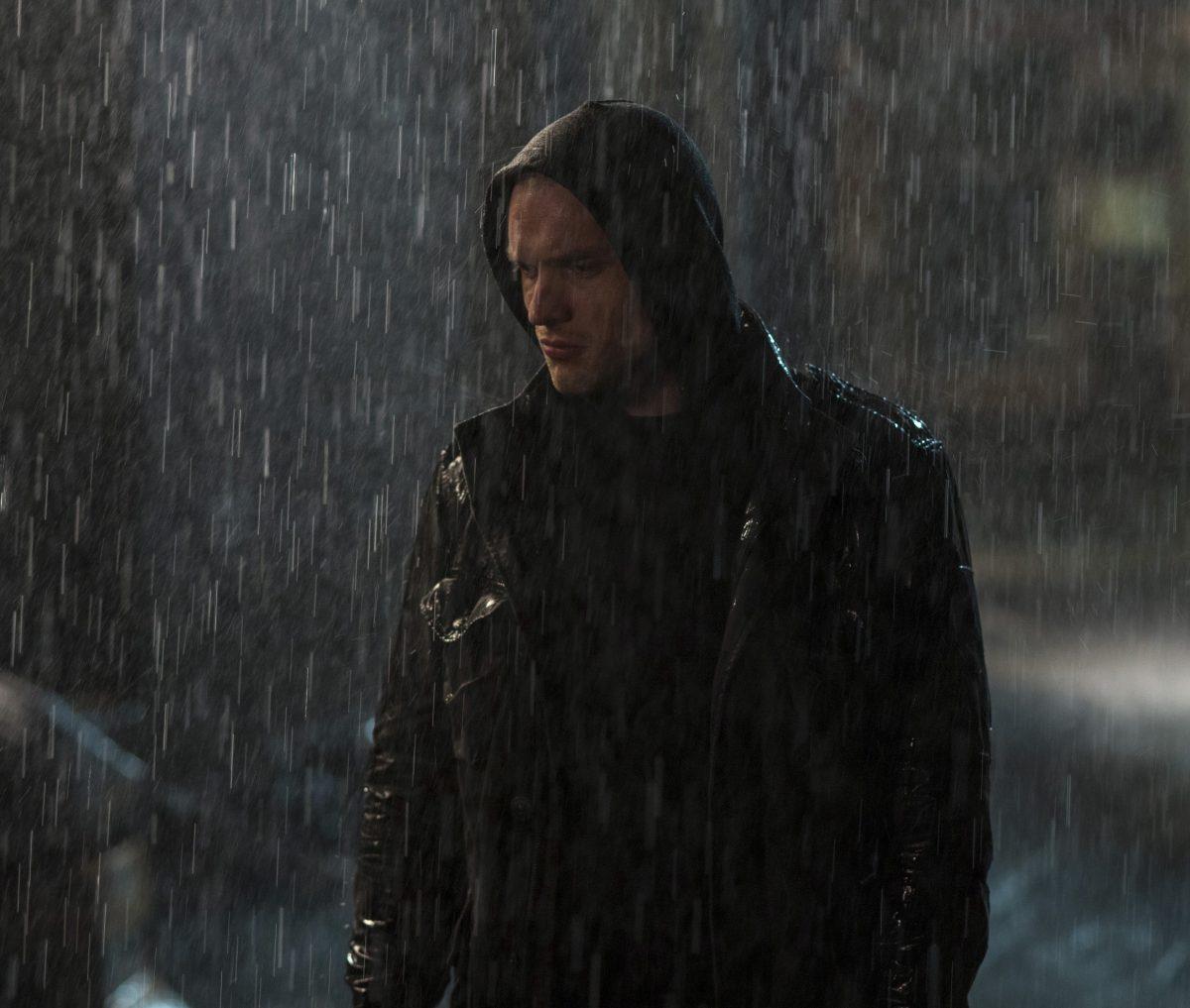 man in rain in Deadpool