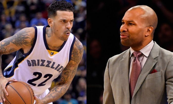 L: Derek Fisher was fired as head coach of the New York Knicks on Feb. 8. (Alex Goodlett/Getty Images); R: Matt Barnes was suspended two games by the NBA for his part in an altercation with Barnes that happened in October of 2015. (AP Photo/Brandon Dill)
