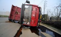 Watch: Unexpected Pit on Chinese Road Causes Bus to Fall 60 Feet