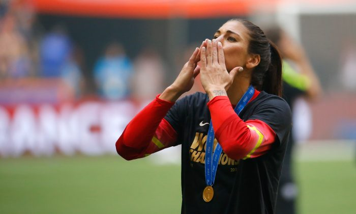 Hope Solo of the United States of America celebrates after their 5-2 over Japan in the FIFA Women's World Cup Canada 2015 Final at BC Place Stadium on July 5, 2015 in Vancouver, Canada. (Kevin C. Cox/Getty Images)