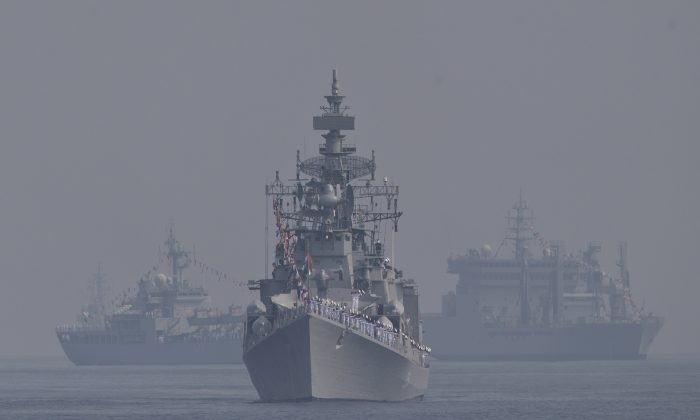 Indian guided missile destroyer 'Ranveer' is seen during the International Fleet Review in Vishakapatnam, India, on Feb. 6, 2016. Indian President Pranab Mukherjee, who is the supreme commander of the Indian armed forces, reviewed a fleet of over 90 naval ships including several from foreign countries. (AP Photo/Saurabh Das)