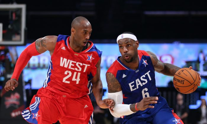 If superstars LeBron James (R) and Kobe Bryant had been traded for one another in 2007 it would have been maybe the biggest blockbuster trade in sports history. (Ronald Martinez/Getty Images)