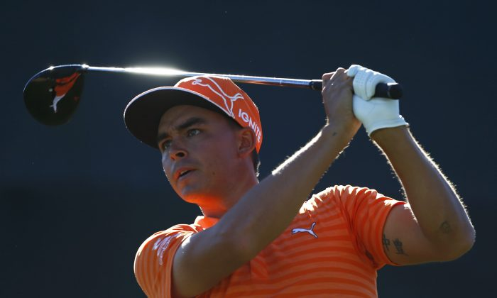 Rickie Fowler tees off on the 17th hole during the final round of the Waste Management Phoenix Open at TPC Scottsdale on Feb. 7. (Scott Halleran/Getty Images)