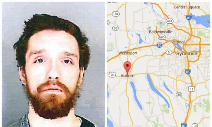 Left: Kenneth M. Lafler. (Auburn Police Department) Right: Google Map screenshot showing the city of Auburn, NY. (Screenshot of Google Maps)