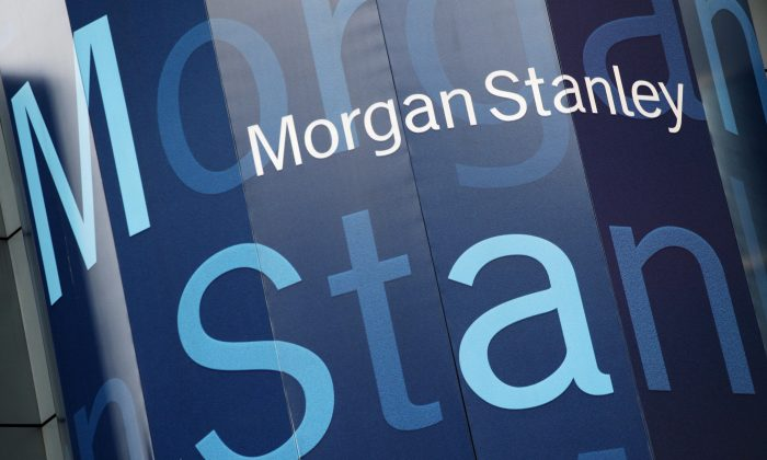 The Morgan Stanley logo is displayed on its Times Square building on Oct. 18, 2011. (AP Photo/Mark Lennihan)